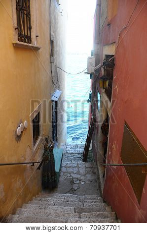 Street And Sea In Rovinj Village, Croatia