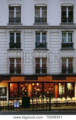Illuminated café in Montmartre