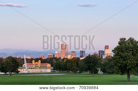 Skyline Of Denver At Dawn