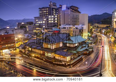 Matsuyama, Japan downtown skyline at Dogo Onsen bath house.