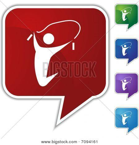 Jumping Rope Speech Balloon Icon Set