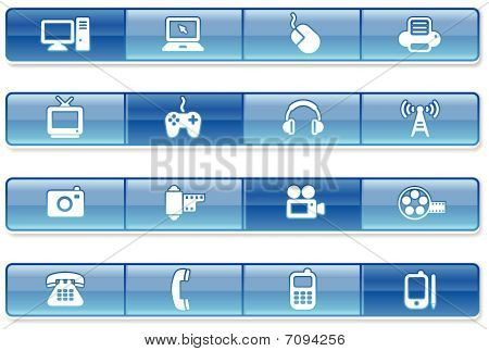 Blue Bar Technology Icons