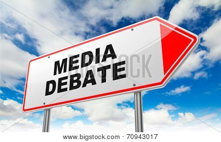 Media Debate on Red Road Sign.