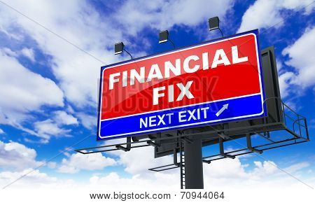 Financial Fix on Red Billboard.