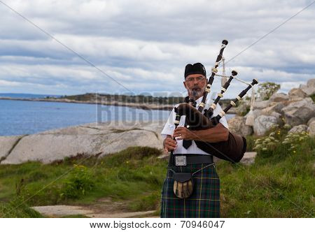 Bagpipes Musician At Peggy's Cove