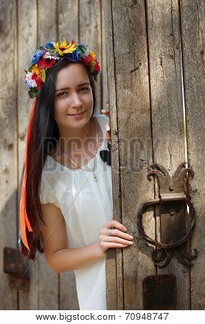 Ukrainian beautiful girls in national chaplet