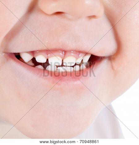 Toddler's Mouth Smiling Closeup
