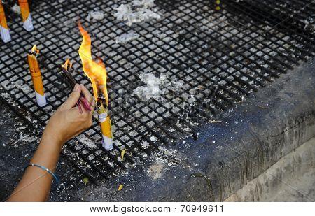 People Hand Fire The Joss Stick