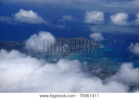Aerial View Of Kuapa Pond, Hawaii Kai Town, Portlock, Clouds And Pacific Ocean