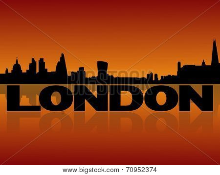 London skyline reflected with text and sunset vector illustration