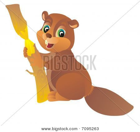 cartoon  beaver. Vector illustration