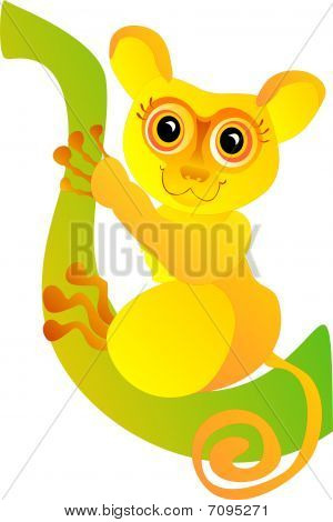 Cute Cartoon Monkey, Vector Illustration