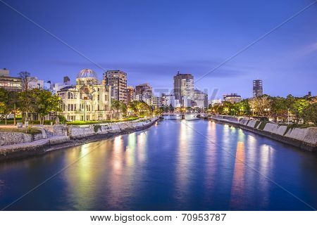 Hiroshima, Japan city skyline on the Otagawa River.