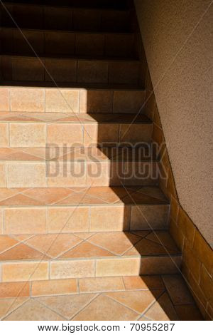 Vertical image of straight entryway staircase