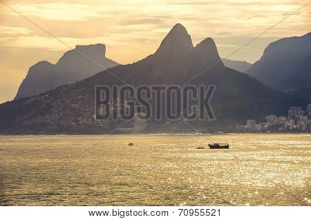 Sunset At Copacabana Beach, Rio De Janairo, Brazil