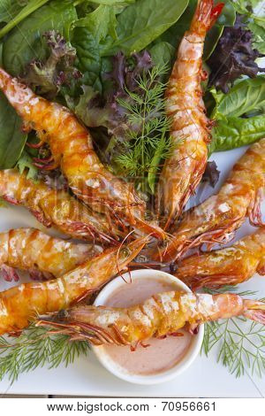 Grilled Skewered Shrimps