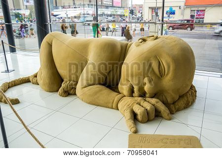 Exhibition Of Sand Sculptures In Shopping Center In Nitra, Slovakia
