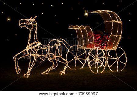 Shining Christmas horse-drawn carriage