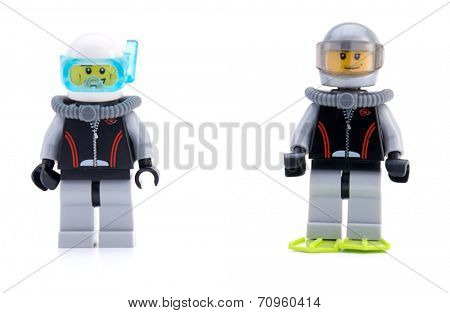 Ankara, Turkey - April 04, 2012 : Lego minifigures diver and Naga Warrior isolated on white background.