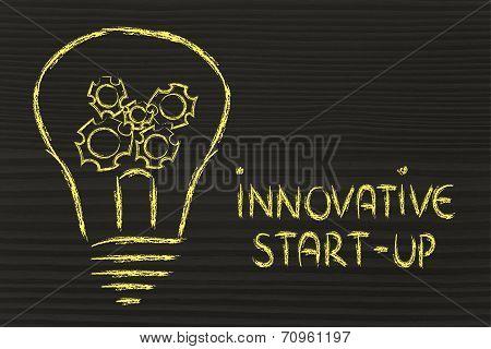 Innovative Start-up, Lightbulb With Gearwheels