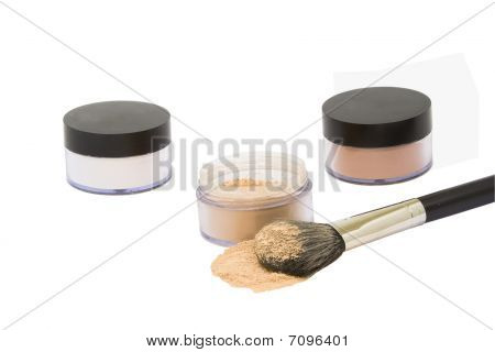 Jars With Make-up Powder And Brush Isolated