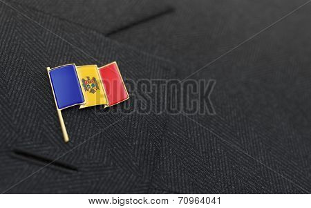 Moldova Flag Lapel Pin On The Collar Of A Business Suit