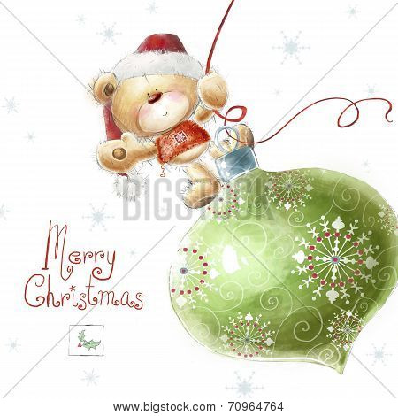 Cute teddy bear with the big Christmas tree toy  in the Santa hat.Childish illustration in sweet col