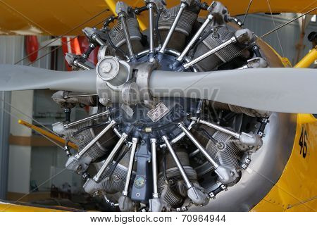Vintage Radial Aircraft Engine and Propeller