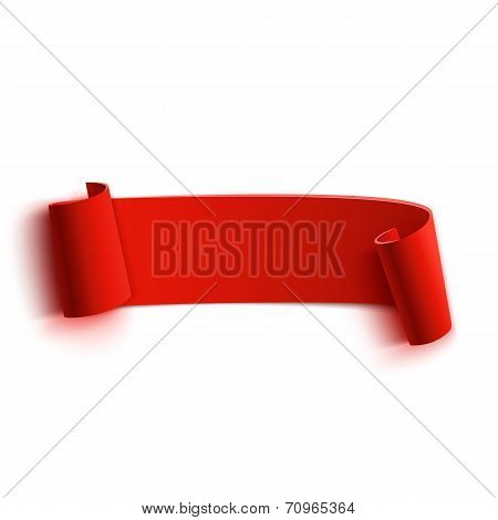 Realistic detailed curved red paper banner, ribbon