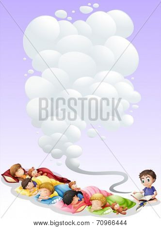 Illustration of children are taking a nap