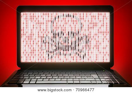 hacked black laptop