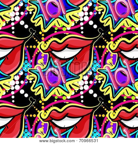 Illustration of a seamless lips background
