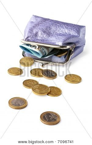 Purse With Money Isolated On White Background