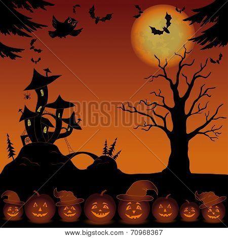 Landscape with pumpkins and Castle - mushroom