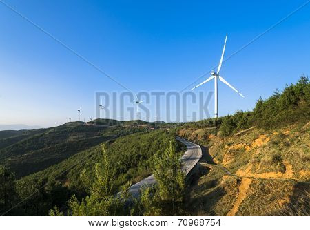 wind turbine on the top of mountain yunnan china.