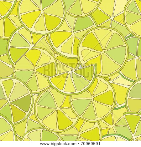 Fresh lime citrus seamless pattern.