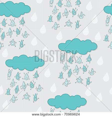 Happy funny raindrops seamless pattern.