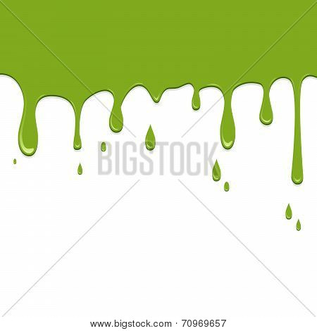 Spilled Green Color On A White Background