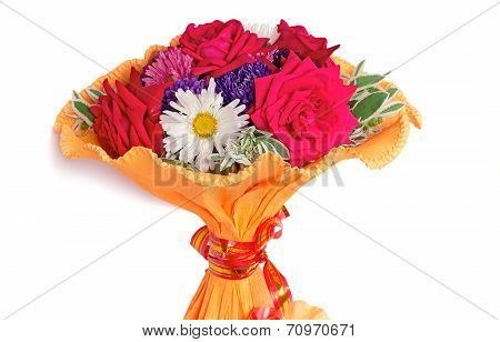 Bunch Of Flowers On A White Background