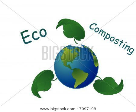 Eco Composting World wide symbol illustration..