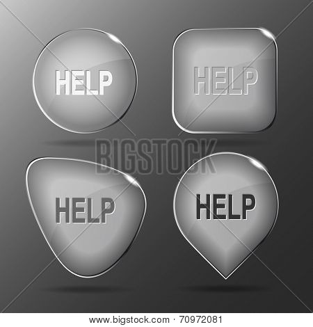Help. Glass buttons. Vector illustration.