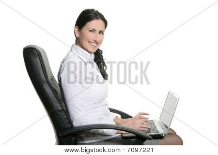 Brunette Business Woman Typing Sit Laptop