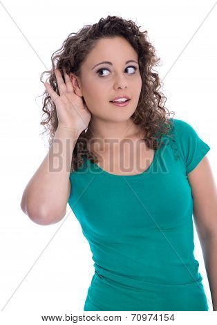 Isolated Young Funny Woman In Green Listening For Special Sales Offers.