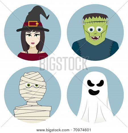 Halloween character set. Witch, mummy, ghost, Frankenstein's monster