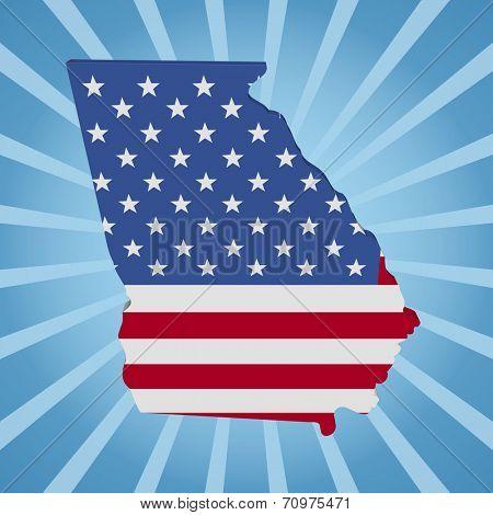 Georgia state map flag on blue sunburst illustration