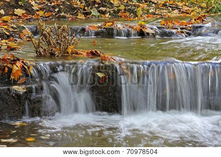 water cascades on a mountain river
