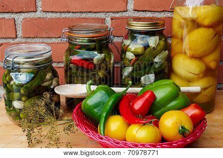 Fresh Homemade Pickles Preserved Vegetables