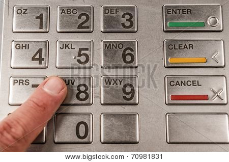 Closeup of atm machine keyboard