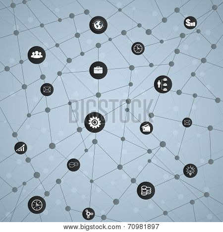 Economic Structure Of Networks With Icons, Web Design, Mobile