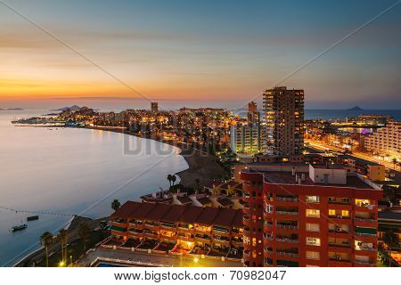 La Manga Del Mar Menor Skyline At Night, Murcia, Spain